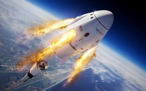 Illustration of the SpaceX Crew Dragon and Falcon 9 rocket during the company's uncrewed In-Flight Abort Test for NASA's Commercial Crew Program. This demonstration test of Crew Dragon's launch escape capabilities is designed to provide valuable data toward NASA certifying SpaceX's crew transportation system for carrying astronauts to and from the International Space Station.
